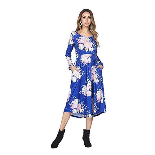 FeelinGirl Damen Lange Kleid Kleider Sommerkleider Maxikleider Blumenkleid Blumedrucken Strandkleid Rock mit Böhmen, M (EU 38-40), Blau