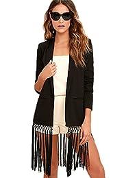 Sexy Ourlet Frangé Ourlet Frangé à Pampilles Hem Empiècements en Longue Long Veste de tailleur Blazer Jacket Veste Blouson Suit Haut Top Noir
