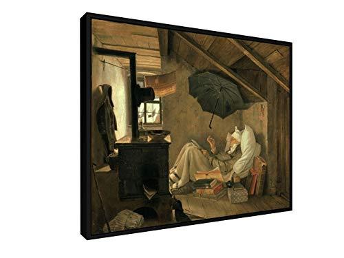 Spitzweg - der Arme Poet - Berlin - 1839-50x40 cm - Leinwandbild mit Schattenfugenrahmen - Wand-Bild...
