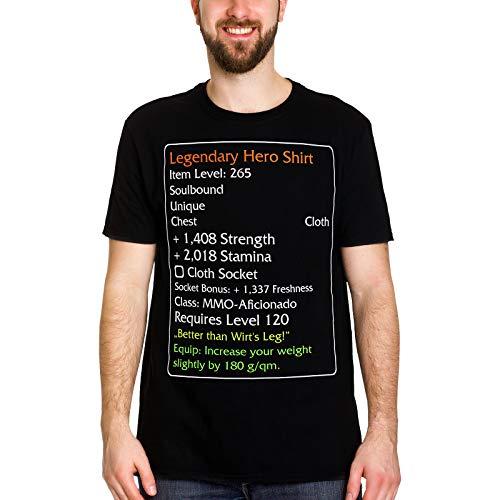 fedfe5e01 Elbenwald Camiseta para Hombre Legendary Hero Level-120-Item para fanáticos  de World of