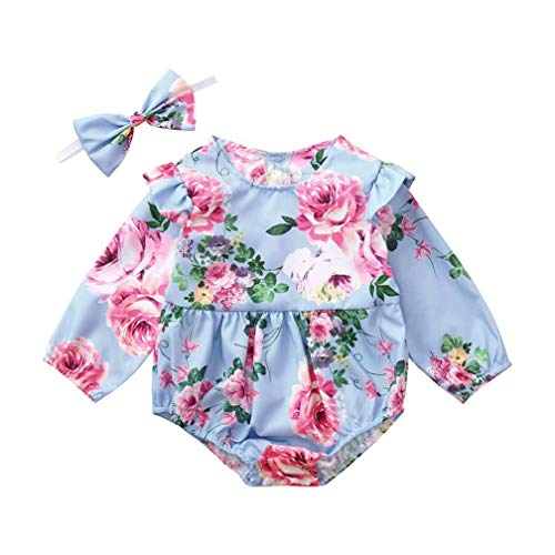 Culater 2018 ❤️❤ ragazza infantile ragazzo halloween fiori stampa party pagliaccetto tuta + fascia ❤️❤party set di vestiti per neonate set di abbigliamento (6-12 mesi, blu)