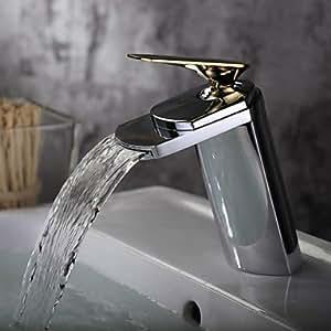 SK Zeitgenössische Chrome Ein Loch Wasserfall Single Griff Waschbecken Wasserhahn