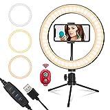 Lumburry Anillo de luz LED de 10 Pulgadas, USB, Regulable, con Soporte Flexible para Smartphone, para Make up Youtube, grabación de vídeo, teléfono móvil, Selfie, fotografía
