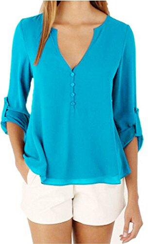 Bigood Femme T-shirt Chiffon Blouse OL Rond Col Chemise Slim Uni Bleu Clair
