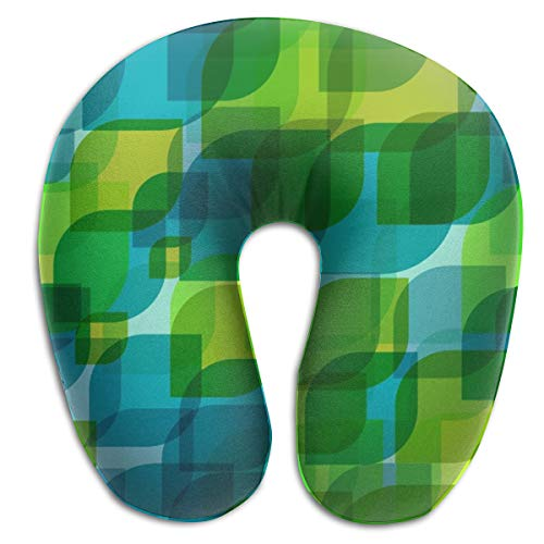 Travel Pillow,Artistic Leaves Teals Green Overlay Memory Foam U Neck Pillow for Lightweight Support In Airplane,Car,Train,Bus -