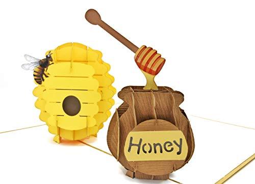PopLife 3D-Pop-Up-Karte Bienenenwein- und Honigglas für alle Anlässe