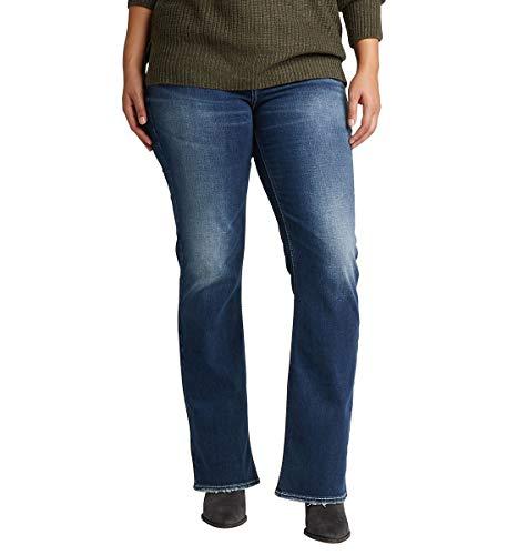 Flap-tasche Indigo Jeans (Silver Jeans Co. Damen Plus Size Suki Curvy Fit Slim Bootcut with Flap Pockets Jeans, Low Stretch Medium Indigo, 30W x 33L)