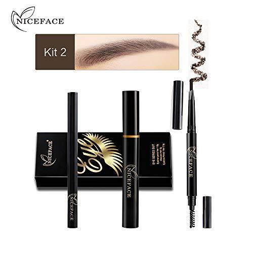 Dtuta Wimperntusche VerläNgerung Waterproof Schwarz Eyeliner-Stift + Mascara + Augenbrauenstift FüR Das Augen-Make-Up
