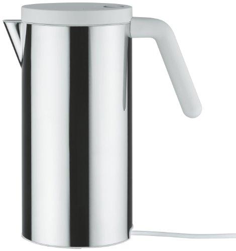 """Alessi \""""HOT IT\"""" Elektrischer Wasserkocher aus Edelstahl, Deckel aus thermoplastischem Harz, weiß"""