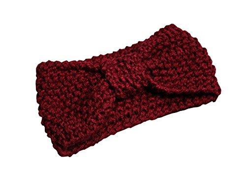 Blancho [Bow Wine Red] BreitseitePin Strickstirnband Wolle Stirnband Sport Headwrap (Red Stirnband Bow)