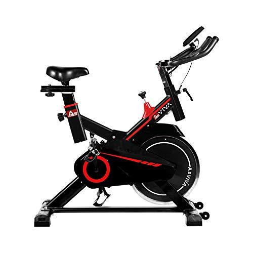 AsVIVA Indoorcycle Speedbike S11 mit 18kg Schwungmasse schwarz, inkl. Fitnesscomputer, Komfortsattel, Handpulssensoren, Speedbike mit leisem Riemenantrieb - kompakt