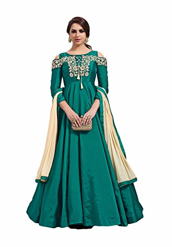 Green colour embroidery taffeta semi_stitched Anarkali party-wear-salwar-kameez