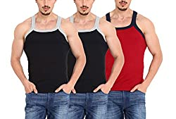 ZIMFIT Gym Vest - Pack of 3 (2Black_1Red_85)