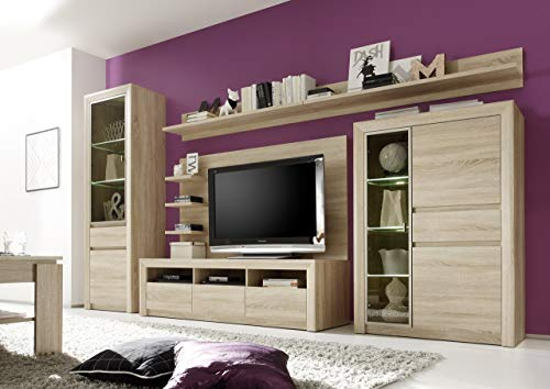 trendteam SV97745 Wohnwand Wohnzimmerschrank Eiche Sonoma Hell, BxHxT 342 x 200 x 51 cm - 2