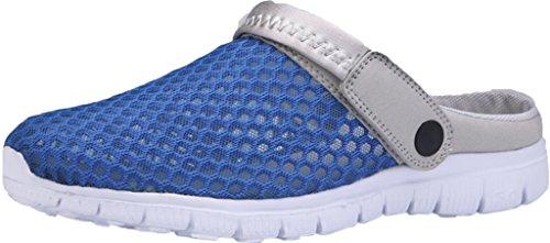 Gaatpot Damen Herren Clogs Pantoletten Slip on Outdoor Hausschuhe Freizeit Mesh Strand Sandale Schuhe Sommer Blau 39 EU = 40 CN (Womens Slipper Slide)