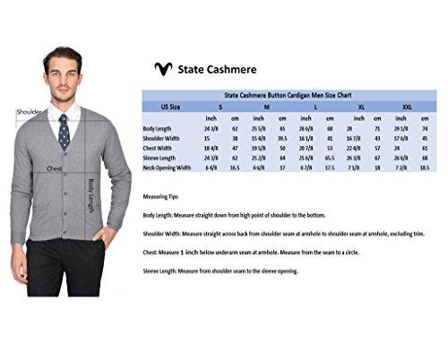STATE CASHMERE langärmlige Strickjacke aus 100% reinem Kaschmir mit Knöpfen vorne für Herren Weiß