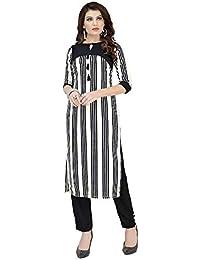 b975f91ba9e FASHION CARE Present Digital Print Black  White Color Fabric Royal Crepe  Kurti for Women s