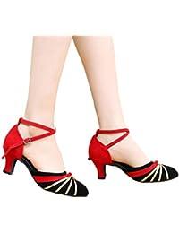 Memefood Zapatos De Baile Latino Para Mujer Zapatos De Tacón Con Hebillas y  Tiras Cruzadas Con Lentejuelas Decorativas Zapatillas De… a468b5e1fc3c