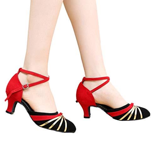 Dasongff Damen Tanzschuhe Standard Frauen Geschlossene Zehe Tanzschuhe Latein Ballschuhe Salsa Tango Tanzen Schuhe 5.5cm High Heels Pumps Sandaletten Mary Jane Halbschuhe High-zehe