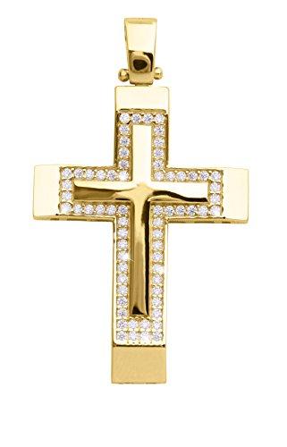 MyGold Kreuz Anhänger (Ohne Kette) Gelbgold 585 Gold (14 Karat) Massiv Mit Stein Zirkonia 36mm x 21mm Groß Goldkreuz Goldanhänger Kettenanhänger Taram V0013097