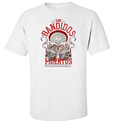 Los Bandidos Muertos lustige t-Shirt Herren Baumwoll Weiss (XL)