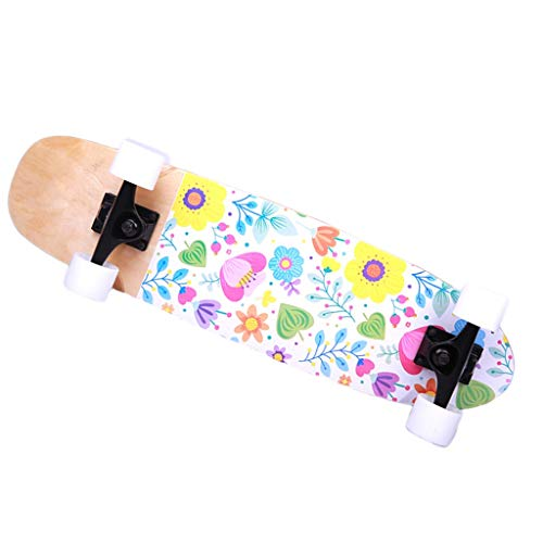 Skateboard Anfänger All Wheel Skate Teen Jungen und Mädchen Erwachsene General Road Brush Street Kurz Skateboard Einzel Rocker Weiß 73 * 20 (Color : WHITE, Size : 73 * 20 * 15CM)