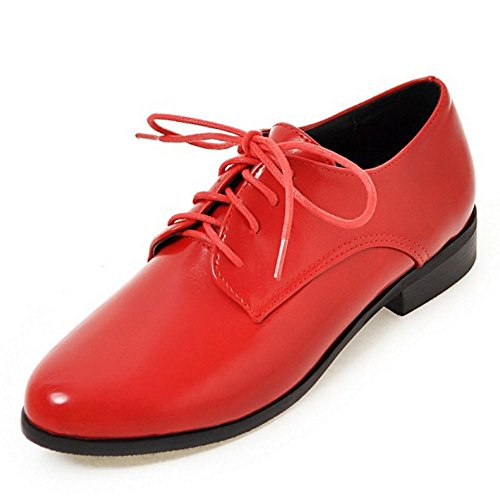 Zanpa Donne Casual Lace up Pumps Oxford Scarpe Plat Extra Sizes 0-13 Rosso