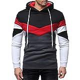 Pullover Herren Herbst Casual Streetwear Patchwork Langarm Hoodie Sweatshirt Top Outwear Kapuzenpullover SANFASHION