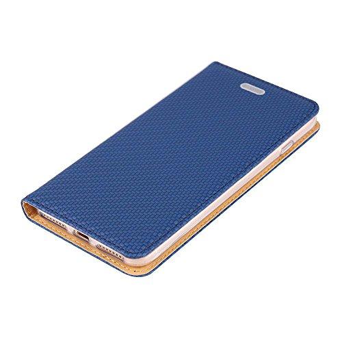 """iPhone 7 Coque, SHANGRUN Élégant PU Cuir TPU Intérieur Folio Carte de Crédit Fentes Supporter Housse Étui Cover Case pour iPhone 7 4.7"""" / iPhone 8 Noir Bleu"""