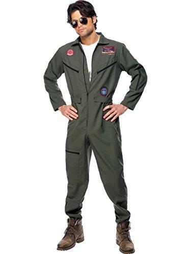 Top 100 Kostüm Herren - Smiffys Top Gun Herren Kostüm Kampfpilot Overall Karneval Fasching Größe XL