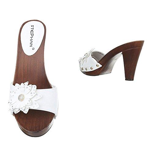 Damen Sandalen Pantoletten Sandaletten High Heels Blumen Plateau ST624 Weiß