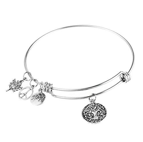 Männer Für Ringe Frieden (Caiyan Frieden Symbol Leben Baum Ahornblatt Anhänger verstellbare Armbänder für Frauen)