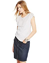 Marks /& Spencer Womens Soft /& Cool Bib Lace Sustainable Cotton Jersey Top