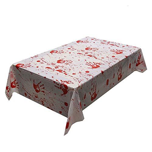 CHUNXU Blutfleckige Tischdecken für Spukhaus, Horror-Stadt, Gruselige Party-Dekorationen, Halloween, Blutflecken, Tischdecke, 130 x 260 cm (Für Party-stadt Halloween)