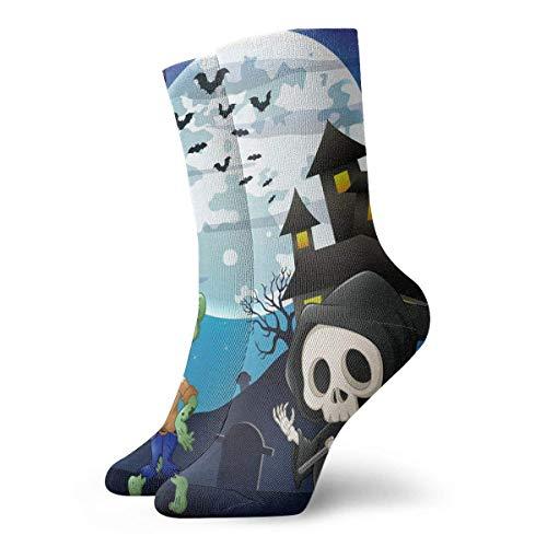Zhengzho Socken Atmungsaktive Halloween Zombies und Skelette Crew Socke Exotic Modern Women & Men Printed Sport Athletic Socken 30 cm (11,8 Zoll)