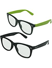 Verre Plain And Clear Unisex UV Protected Wayfarer Sunglasses With 2 Multicolour Frame