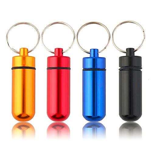 Stroh Pillendose (Avmy 1x Portable Aluminium Pillendose Fall Flasche Cache Drug Holder Schlüsselbund Container)