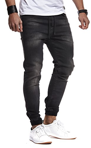 LEIF NELSON Herren Jeans Jogger Jeanshose Cargo Denim Chino Jeans Hose Freizeithose LN1220N-; W36L32, Schwarz (Hose Pants Denim)