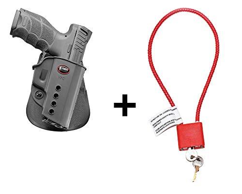 HK VP9 Holster & Cable Gun Lock, Fobus Tactical Retention Paddle Holster for Heckler Koch H&K 9mm SFP9 / VP9 / VP9SK / USP Full Size (not Expert), P8 pistol -