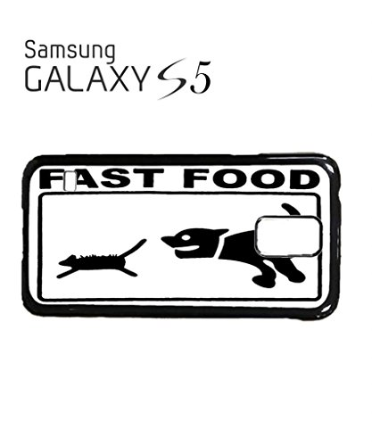 Fast Food Cat and Dog Mobile Cell Phone Case Samsung Galaxy S4 Black Blanc