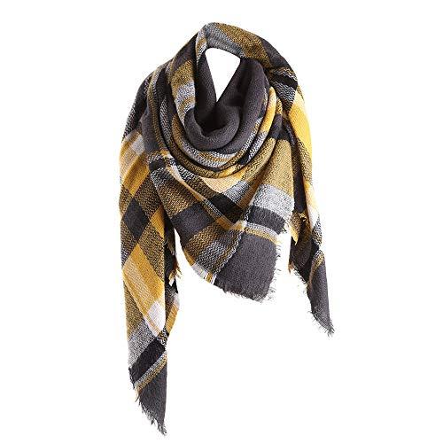 SO-buts Frauen Winter warme Farbe Passenden Langen Wollschal Plaid Weichen Kragen Schal Dual-Use Langen Schal Britischen Plaid Farbe Nachahmung Kaschmir großes Quadrat (Gelb)