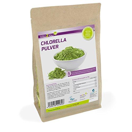 Chlorella Pulver 500g | 100% Rohkost-Qualität im Zippbeutel | 1er Pack (500g) | Premium Qualität