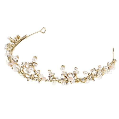 D DOLITY Krone Kopfschmuck Haarreifen Haar Dekoration Tiara Damen Haaraccessoires, Stilvolles und Exquisites Design, geeignet für Party Cosplay passt an Kostüm - Gold-Perlen