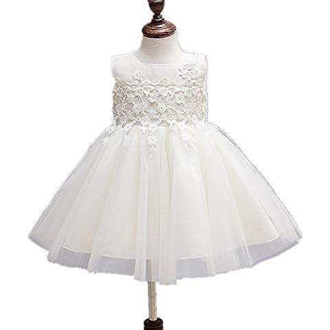 2pcs Baby Girl Marfil 5capas apliques florales bautizo vestido de fiesta