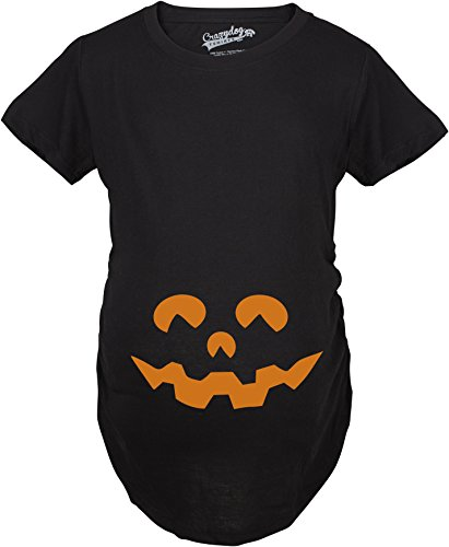 Mutter Sohn Kostüme Baby Und Halloween (Crazy Dog TShirts - Maternity Cartoon Eyes Pumpkin Face T Shirt Halloween Fall October Pregnancy Tee (Black) - XL - damen -)