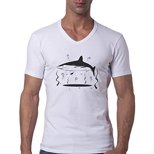 Shark Sea Fish Predator Swim White Great Black Herren V-Neck T-Shirt Weiß