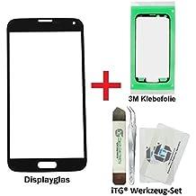 iTG® PREMIUM Juego de reparación de cristal de pantalla para Samsung Galaxy S5 Negro - Panel táctil frontal oleofóbico para SM-G900F G901F G903F LTE NEO + 3M Adhesivo precortado y iTG® Juego de herramientas