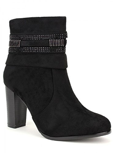 Cendriyon, Bottine daim noir QUENN'S Chaussures Femme Noir