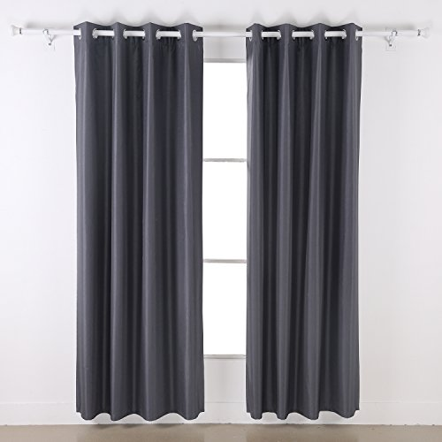 Deconovo Dupioni Faux Silk Thermal Insulated Top Grommet Blackout Curtains For Dining Room 46 X 90 Inch Dark Gray 1 Pair