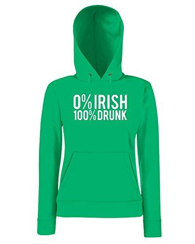 T-Shirtshock - Sweatshirt a capuche Femme TIR0001 irish 100 drunk Vert